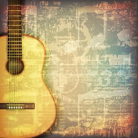 Illustration pour abstract grunge cracked music symbols vintage background with acoustic guitar - image libre de droit