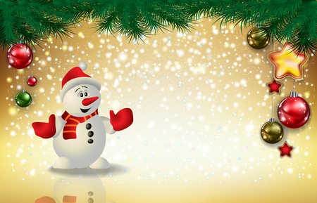 Illustration pour Abstract Christmas golden greeting with snowman snowflakes and decorations - image libre de droit