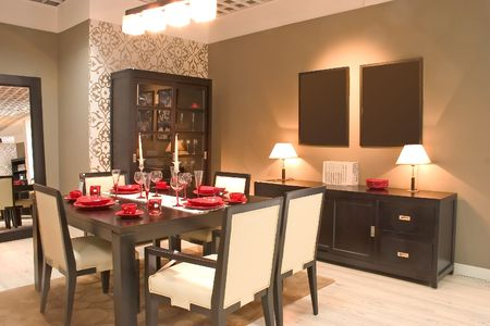 Modern dining room with furniture.