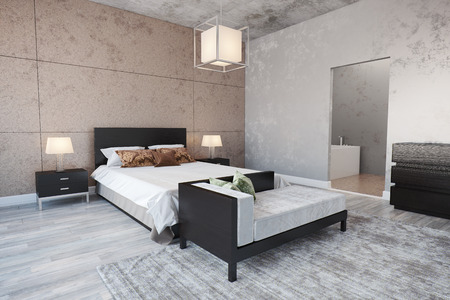 Modern Bedroom interior with a bed.
