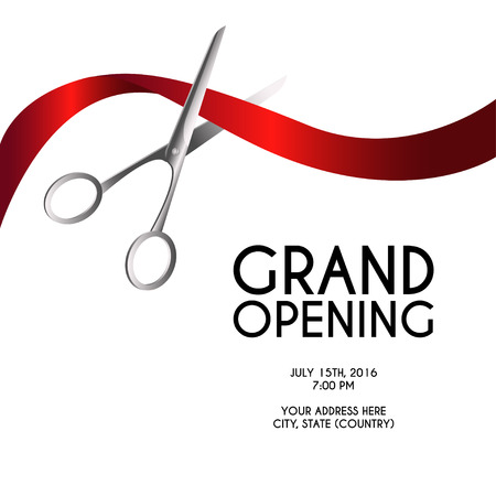 Ilustración de Grand opening poster mock-up with silver scissors cutting red ribbon isolated on white background, design announcement template. Editable and movable objects. - Imagen libre de derechos