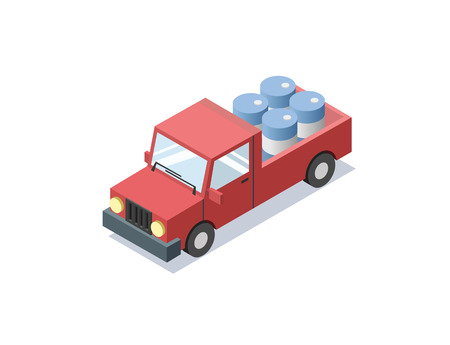 isometric red wagon car with blue barrels, , trucks for cargo transportation, delivery car icon, 3D flat business illustration