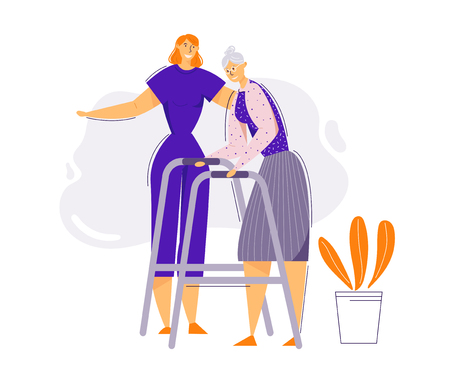 Illustration for Help and Care Old People Concept. Female Character Helps Elderly Woman to Walk. Senior Patient and Nurse. Pensioner Therapy. Vector flat cartoon illustration - Royalty Free Image
