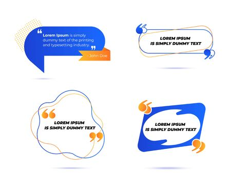 Ilustración de Set of Various Quotes and Speech Bubbles, Blank Layout Template, Quote Box Frames. Remark, Mention Quotations and Callout Text Collection in Trendy Geometric Memphis Style. Cartoon Vector Illustration - Imagen libre de derechos
