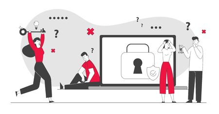 Illustration pour Sad Man Sitting at Huge Laptop with Padlock and Shield on Screen Suffering about Lost Account Password. Happy Woman Run with Key in Hands. Information Defend Cartoon Flat Vector Illustration, Line Art - image libre de droit