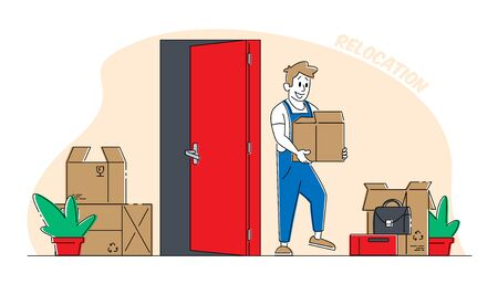Illustration for Relocation and Moving into New House Concept. Worker Male Character Wearing Uniform Carry Cardboard Box - Royalty Free Image