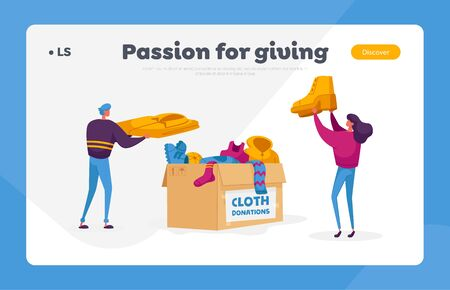 Illustration for Characters Volunteers of Charity Organization Collecting Clothes for Beggars Living on Street. Landing Page Template - Royalty Free Image