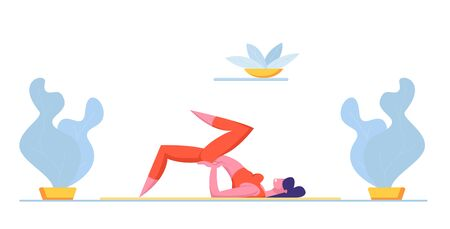 Female Character in Perfect Physical Shape Fitness, Yoga or Aerobics Exercises at Home. Aerobic Training for Good Feeling and Healthy Life, Woman Engage Sport Activity. Cartoon Vector Illustration