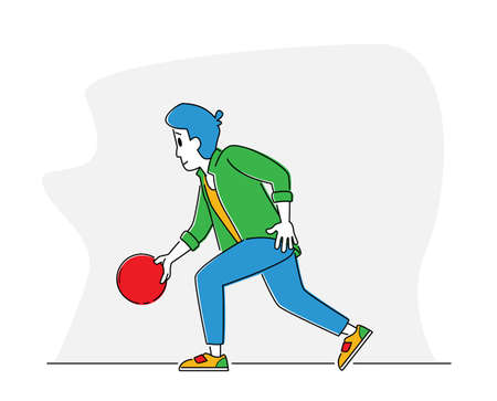Man Player Throw Ball on Lane. Bowler Character Spend Time on Weekend Playing in Bowling Club. Leisure, Active Lifestyle