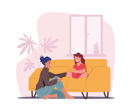 Illustration for Mother and Daughter Sitting on Sofa in Living Room Telling Secrets. Mom and Girl Talking, Parent Character Support Child - Royalty Free Image