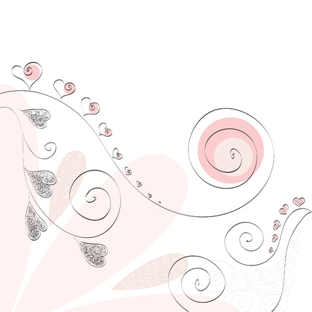 pink heart and curl valentine romantic background