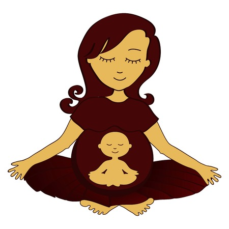 meditating pregnant woman with small meditating child in a stomach