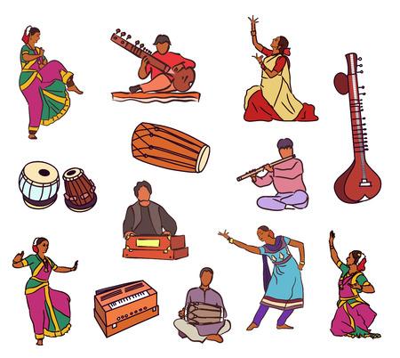 Illustration pour Isolated indian dancers, musicians and instruments - image libre de droit