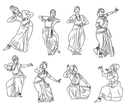 Ilustración de Isolated contour silhouettes indian dancers. Vector set - Imagen libre de derechos