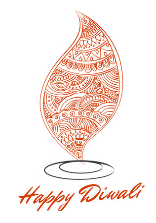 Abstract Oil Lit Lamp With Henna Patterns Illustration For