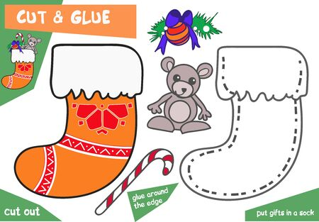 Illustration pour Education paper game for children - Christmas sock with mouse. Use scissors and glue to create the image. - image libre de droit