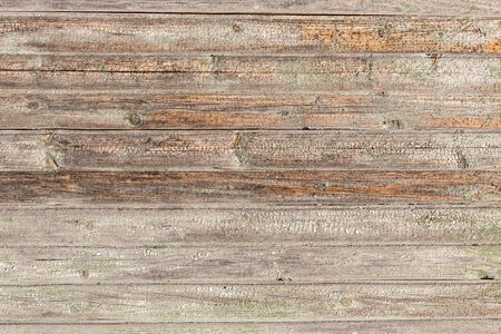 Photo pour Horizontal closeup of old wooden plank wall, brown wooden background, fence or floor panels. Wooden texture background and wallpaper - image libre de droit