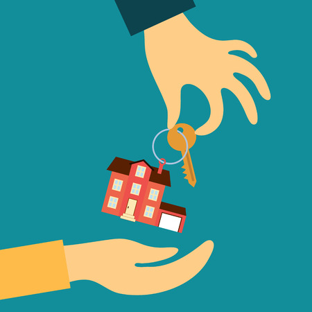 Vektor für Vector real estate concept in flat style - hand real estate agent holding transmits a key with a tag in the form of a home buyer - Lizenzfreies Bild