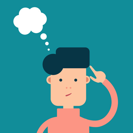 Illustration pour Vector flat man thoughts about something, a cloud of thoughts - image libre de droit