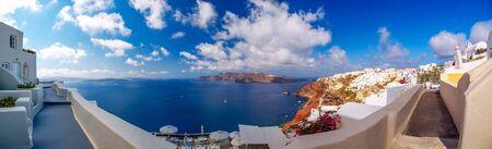 Photo for Amazing panorama Santorini island view. Beautiful white cave houses. Santorini, Cyclades, Greece - Royalty Free Image