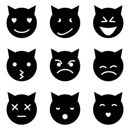 Illustration pour Set of cat emoticons in simple and cute cartoon style - image libre de droit