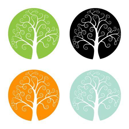 Illustration pour Set of Colorful Season Tree icons, vector logo illustration - image libre de droit