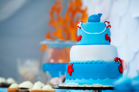Huge blue and white birthday cake with sweet crab, fish, starfish and funny whale on the top. Summer season delicious on the party. Sea time theme on the candy bar.