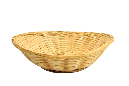 empty bread basket isolated over white, clipping path included