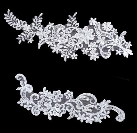 Photo pour luxury wedding flower lace set  isolated on black background - image libre de droit