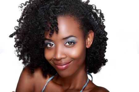 Beautiful african woman face with wide simle over white