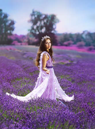 Photo pour beaufitul woman in lavender field high fashion dress gown crown - image libre de droit