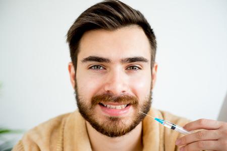 Man facial injection