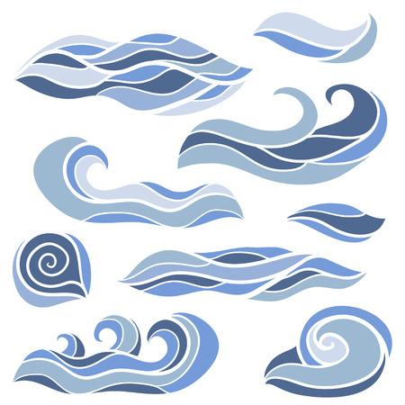 Illustration pour Stylized waves set. Sketch vector hand drawn Doodles. Collection of curls and swirls decorative elements - image libre de droit