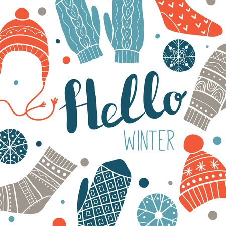 Hello winter. Colorful greeting card or print design with cute socks, hats, mittens, snowflakes. Vector illustration. Winter Christmas icons, elements and illustrations
