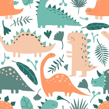 Illustration pour Hand drawn dinosaur animals and tropical leaves. Cute funny cartoon dino seamless pattern. Hand drawn vector texture for kids fabric, textile, nursery wallpaper. Vector childish illustration in doodle - image libre de droit