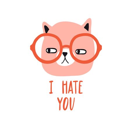 Illustration pour I hate you. Funny grumpy cat with glasses. Design for card, print, poster. Pet vector illustration. Cartoon doodle animals images. Cute kitten with lettering. Hand drawn character - image libre de droit