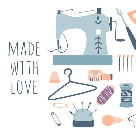 Illustration pour Made with love. Hobby tools poster. Handmade Kit Icons Set: Sewing, Needlework. Arts and crafts hand drawn sketch supplies, tools, design for card, print, banner - image libre de droit