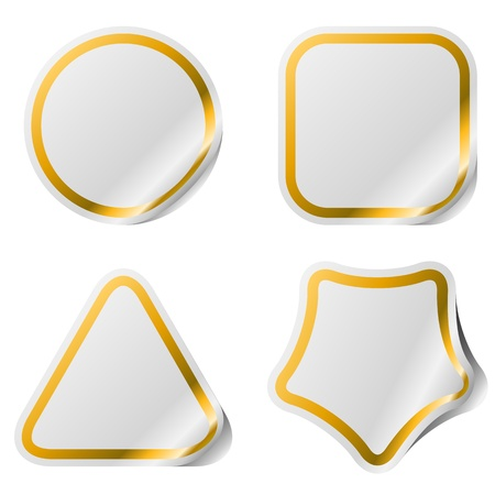 Blank stickers with golden frame