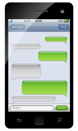 Ilustración de Smartphone sms chat template with copy space. - Imagen libre de derechos