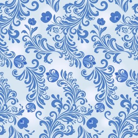 Seamless winter blue flower vector wallpaper pattern