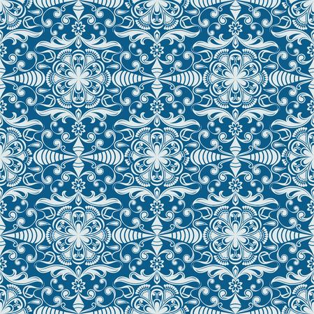 Seamless winter blue floral vector wallpaper pattern.