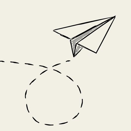 Illustration for Paper plane drawing with dashed trace line. - Royalty Free Image