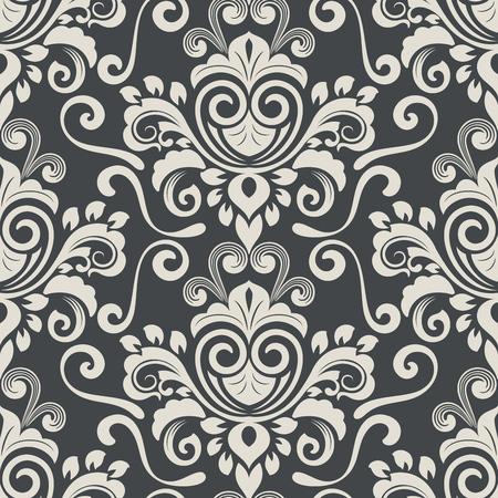 Dark Black And White Vintage Wallpaper Pattern Vector