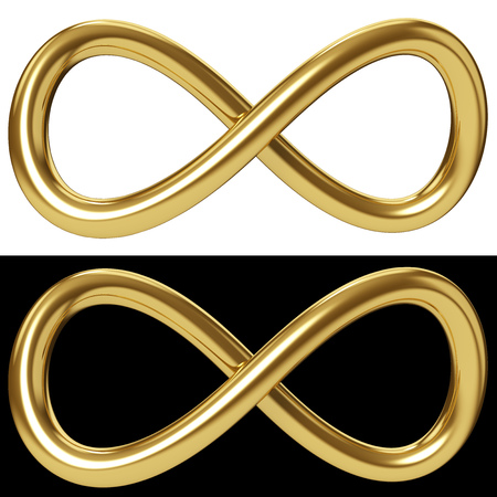 Photo for Gold infinity loop isolated on white and black background. Golden Mobius loop sign. 3D rendering. - Royalty Free Image