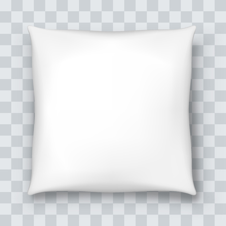 Illustration pour White pillow isolated on checkered background. Vector illustration. - image libre de droit