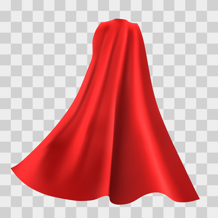 Illustration for Superhero red cape isolated on checkered background. Vector illustration. Back view. Superpower concept. - Royalty Free Image