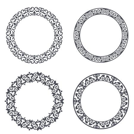 Illustration pour Black and white round floral frame set vector illustration. Circular flower design isolated on white background. - image libre de droit