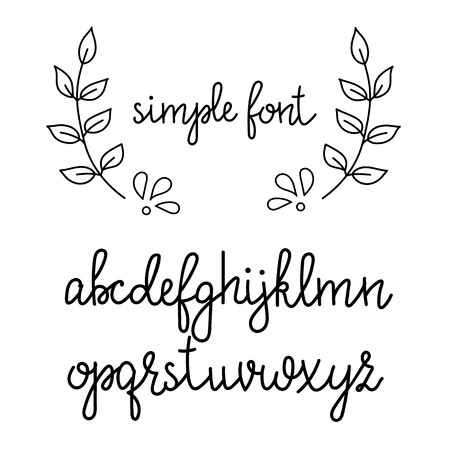 Illustration pour Simple handwritten pointed pen calligraphy cursive font. Calligraphy alphabet. Cute calligraphy letters. Isolated letters. Typography, decorative graphic design. - image libre de droit