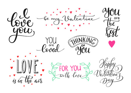Illustration pour Romantic Valentines day lettering set. Calligraphy postcard or poster graphic design lettering element. Hand written calligraphy style valentines day romantic postcard. Love you. Be my Valentine - image libre de droit