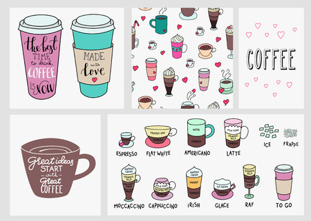Illustration pour Big coffee shop set. Quote lettering on coffee cup shape set. Calligraphy style coffee quote. Coffee shop promotion motivation. Coffee background. Coffeee types. Made with love. - image libre de droit